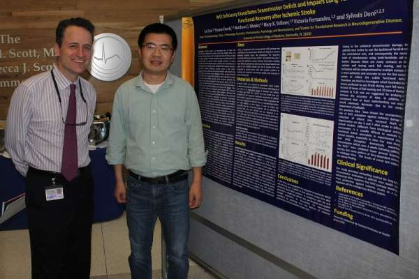 Drs. Dore and Liu at the Department of Anesthesiology's 2016 Celebration of Research