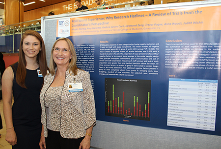 Judith Wishin and Megan Koenig in front of their poster presentation