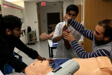 Dr. Panjeton demonstrates how to intubate