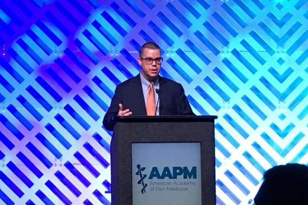 Dr. Tighe moderating a session at the 2019 AAPM meeting