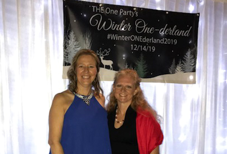 Joyce Myers and Robin Vaughan at the ONE party 2019