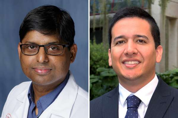 Side by side headshots of Doctors Kumar and Mora