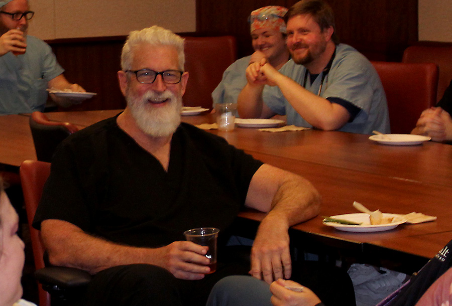 Doctor Lucas at his retirement luncheon