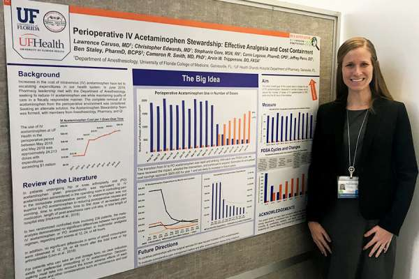 Stephanie Gore with her patient safety poster