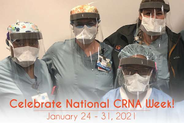 C-R-N-A wearing personal protective equipment
