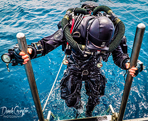 Scuba diver coming out of the water