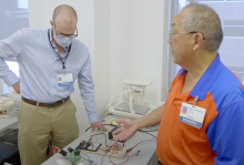 Dave Lizdas and Sem Lampotang working on the ventilator