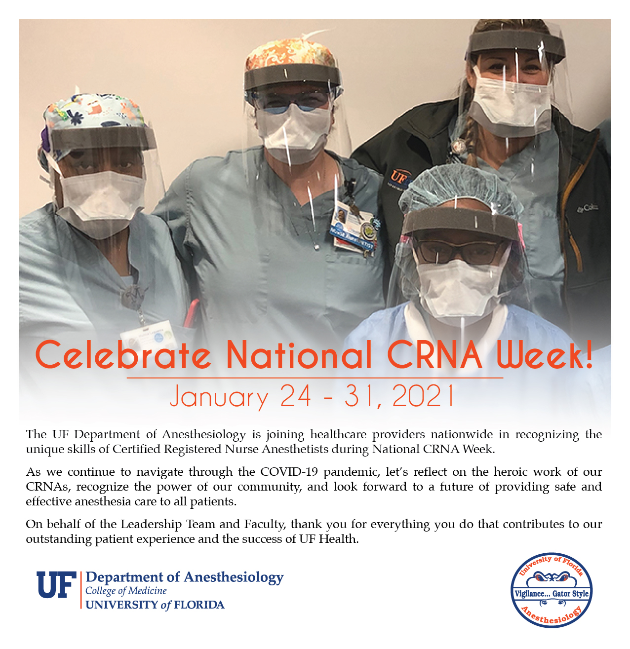 Celebrate C-R-N-A week text and photo of some C-R-N-A-s in personal protective equipment